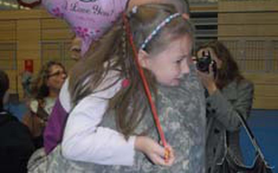 Sgt. 1st Class Thomas Nunn got a from daughter, Jacelyn, 5, Monday morning in Grafenwöhr.