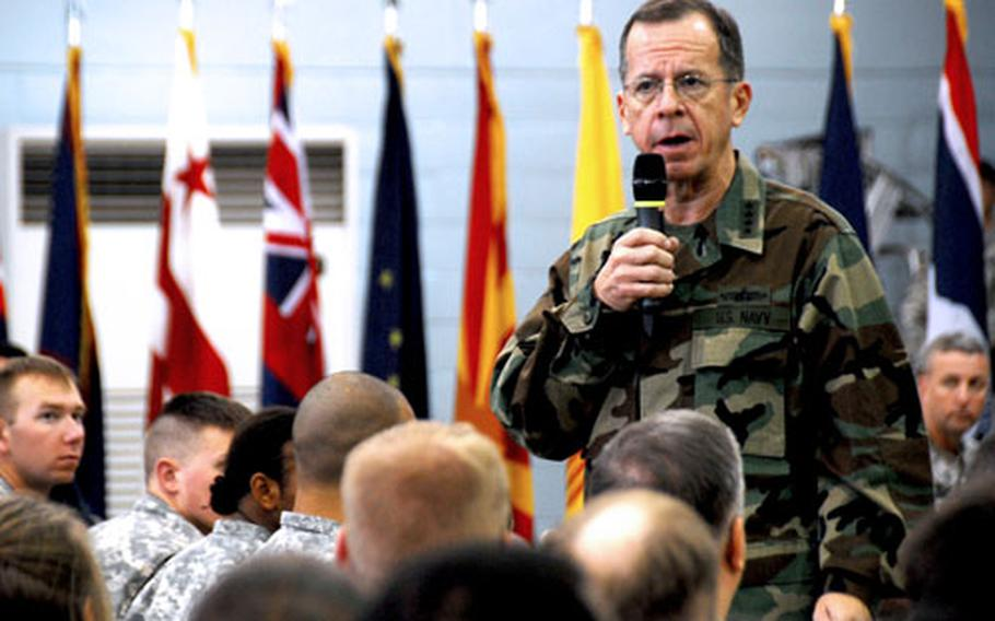 Adm. Mike Mullen, chairman of the Joint Chiefs of Staff, answers questions from troops at U.S. Army Garrison-Yongsan on Thursday.