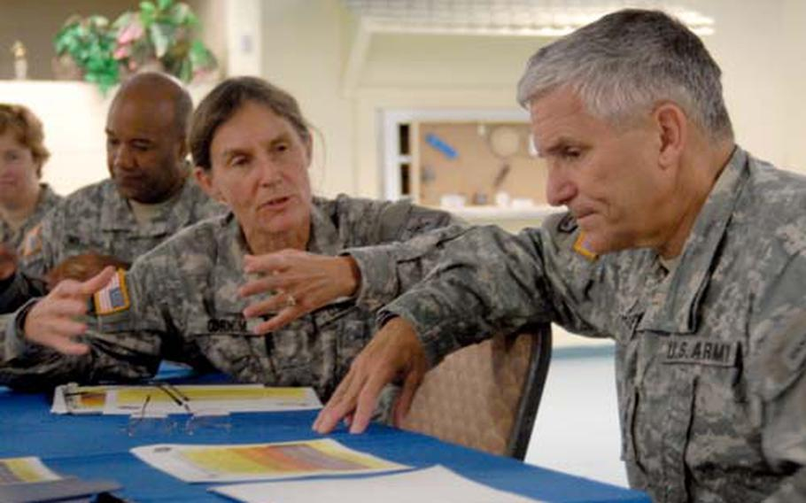 U.S. Army Brig. Gen. Rhonda Cornum, director of the Comprehensive Soldier Fitness program, discusses the program with Gen. George Casey, Army chief of staff, during a recent visit to Fort Jackson, S.C.