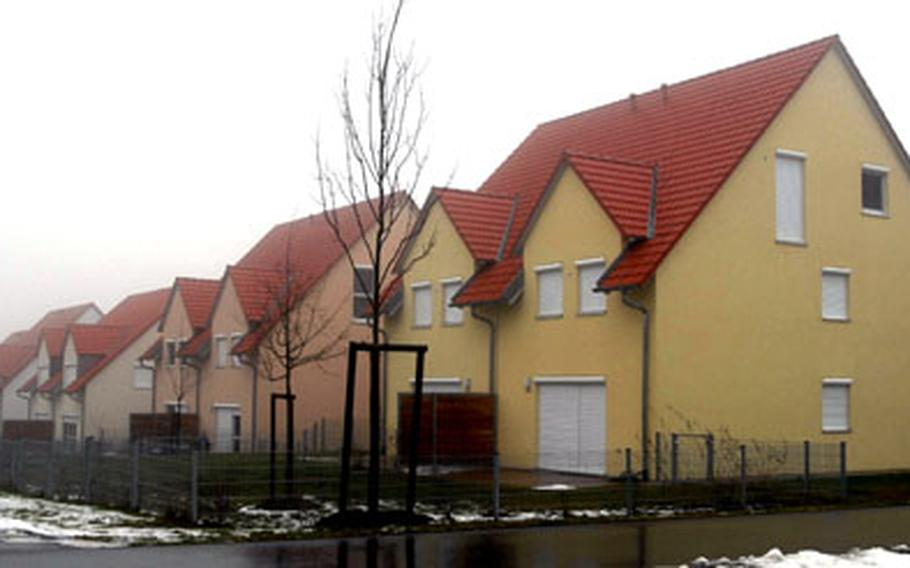 A row of shuttered houses at Netzaberg — a large off-post military housing area near Grafenwöhr Training Area.