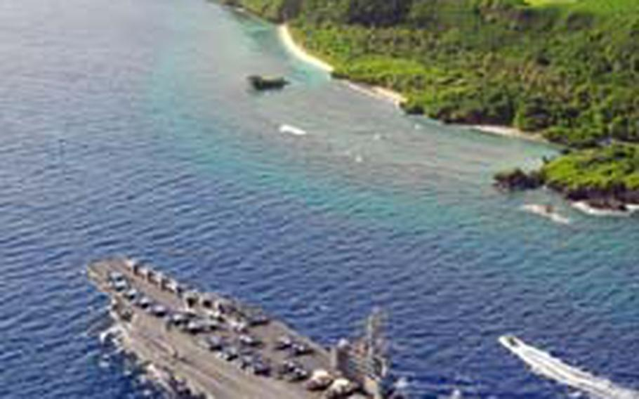 The aircraft carrier USS Ronald Reagan, flagship of Carrier Strike Group 7, U.S. 7th Fleet, visited Guam earlier this month. The Reagan and other ships of the strike group are set to visit South Korea this week for port visits at Busan and Chinhae.
