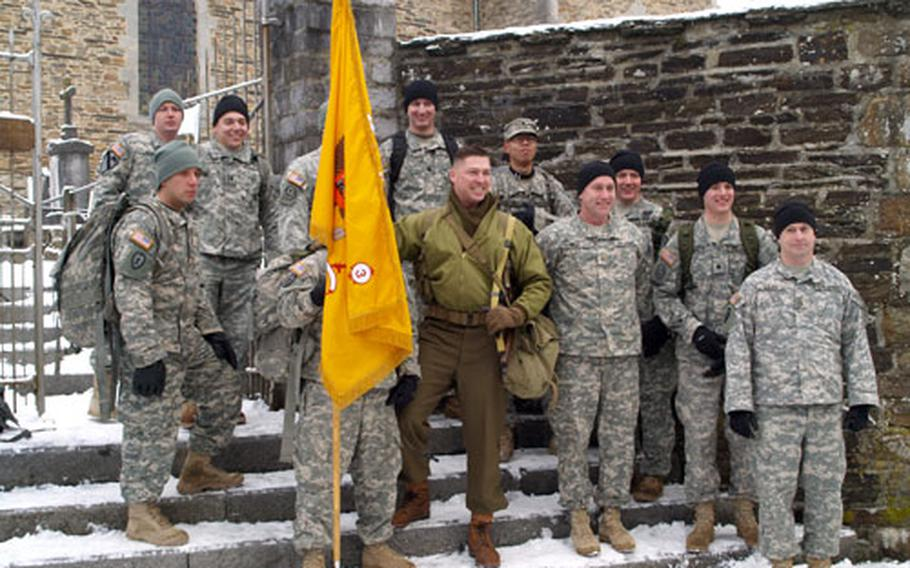 U.S. Army soldiers with the 2nd Stryker Regiment in Vilseck, Germany, participate in last year's march commemorating the 82nd Airborne Division's role in the Battle of the Bulge during World War II.