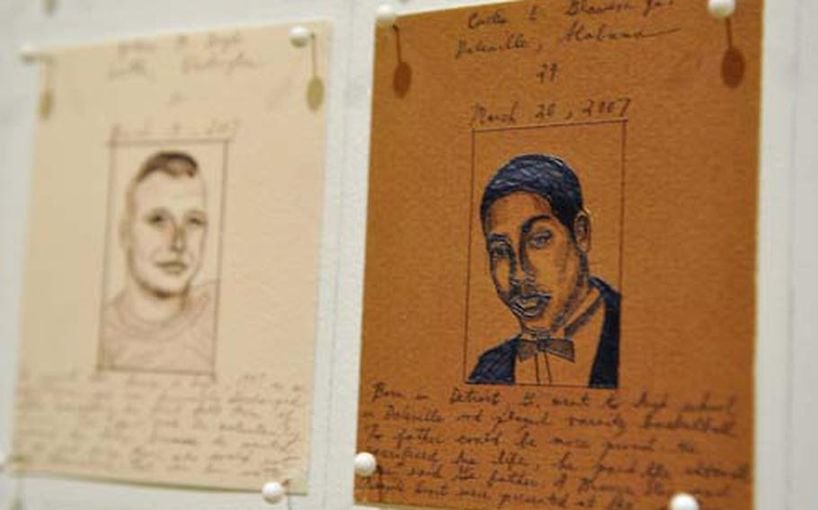 Each drawing of a fallen servicemember that Emily Prince makes includes their name, age, hometown, and often a small handwritten biography.