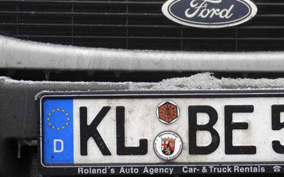New vehicles registered through U.S. Army Europe will be given plates without a pink, hexagon-shaped decal. When vehicle registrations are renewed, a blank white sticker will be given instead of the former hexagon decal.