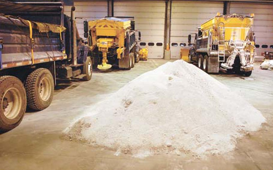 Ten metric tons, or roughly two truckloads, of salt is all Ramstein Air Base has left after the recent barrage of snow and ice.