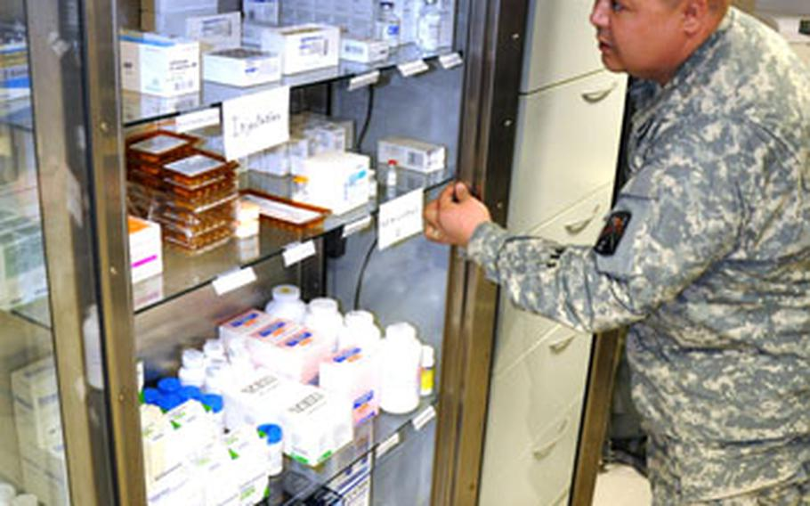 The new Bamburg medical aid station was stocked with discount supplies soldiers found at nearby clinics that were closing.