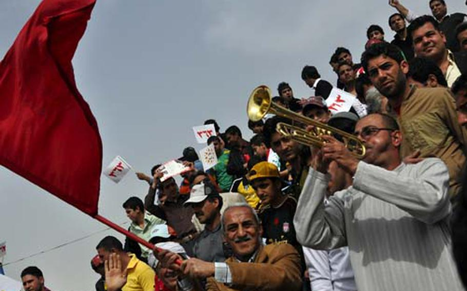 A rally for Iraq's small Communist Party drew perhaps 2,000 people on Friday, packing a soccer stadium in central Baghdad.