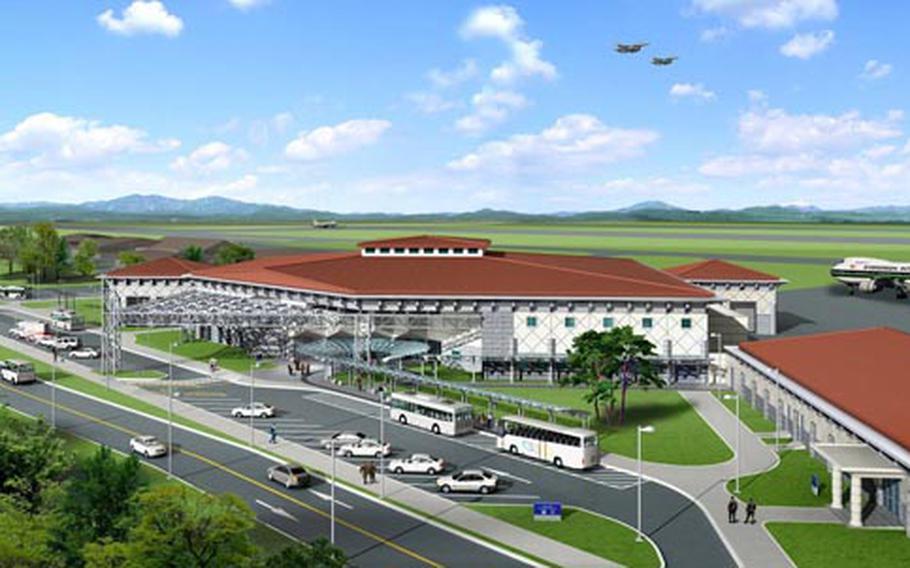 An artist's rendering of Osan Air Base's new passenger terminal.
