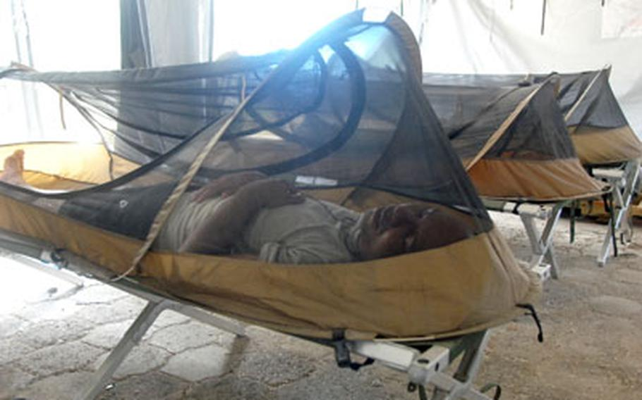 Service members in Haiti sleep under mosquito netting that helps protect them from malaria carried by the insects.