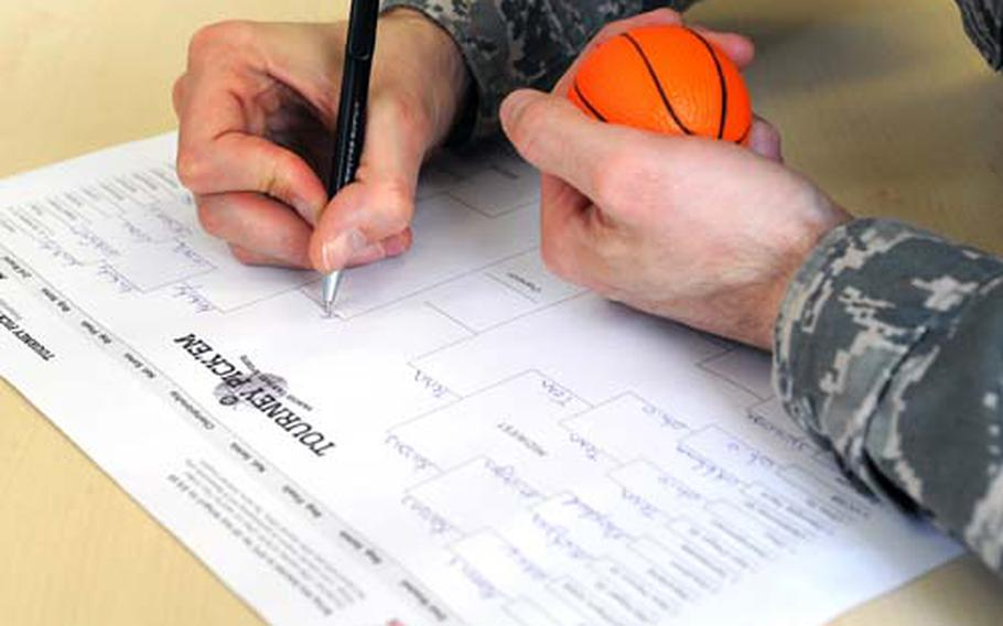 Millions of Americans are scrambling to fill out their NCAA tournament office pool brackets, but the Department of Defense says office pools are not authorized or permitted, because DOD employees are prohibited from gambling while on federally owned or leased property or while on duty.
