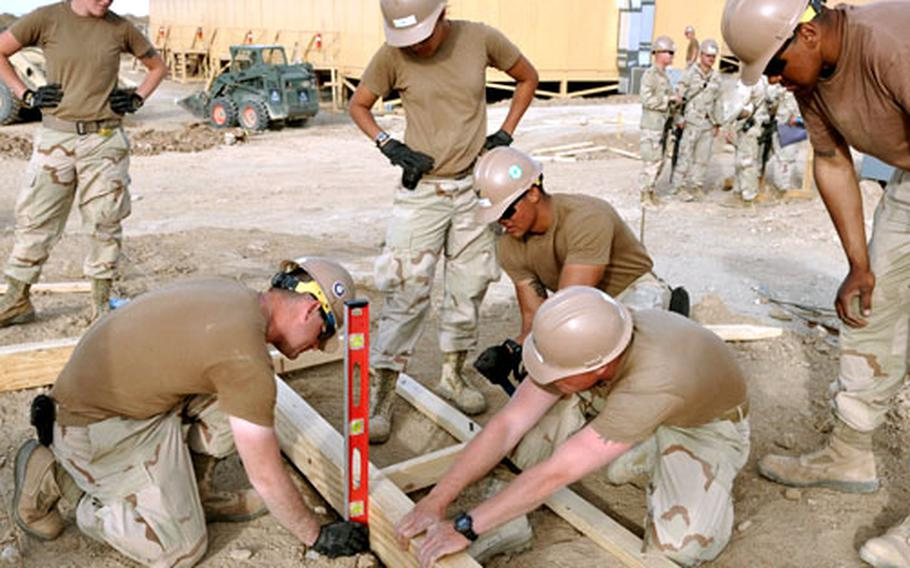 Navy Seabees with Naval Mobile Construction Battalion 4 build the frame for a concrete floor for a new tactical operations center at Forward Operating Base Sharana in Paktika province, Afghanistan, on March 15. The construction is part of a massive building effort to support the surge of troops ordered in December by President Barack Obama.