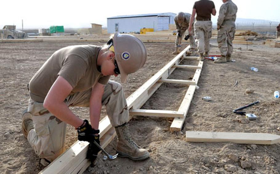 Constructionman McKenzie Dupons, 20, a Navy Seabee, works at the construction site at Forward Operating Base Sharana.