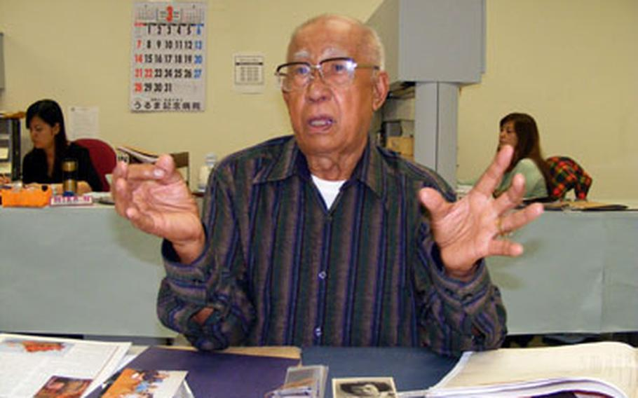Julian Antonio, 82, tells his rags-to-riches story during one of his last days as supervisor of the Army 58th Signal Battalion's Project Support Activity on Okinawa.