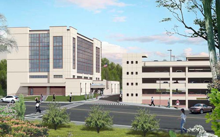 An artist's rendering shows the building to be constructed as headquarters for the Army's 35th Air Defense Artillery Brigade at Osan Air Base, South Korea. The project also calls for a five-level parking garage. The garage is slated for completion by September 2011, the headquarters by May 2012.