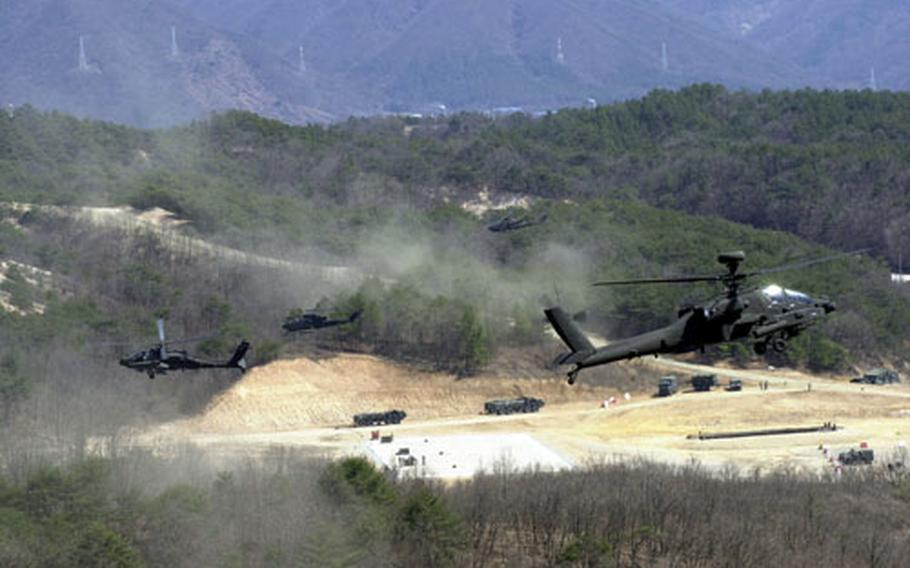 Helicopters provide air support.