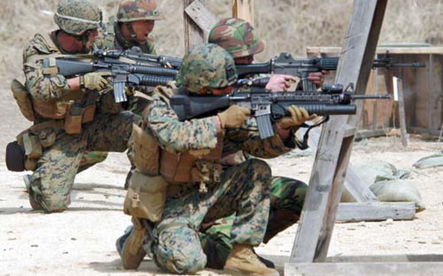 South Korean and U.S. Marines operate together during last year's annual Key Resolve/Foal Eagle exercise. The troops were from the 31st Marine Expeditionary Unit and the 2nd Republic of Korea Marine Division. They were practicing fire-and-maneuver techniques at Rodriguez Range.