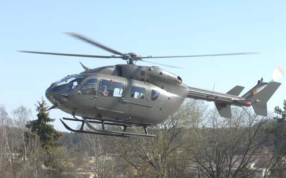 A UH-72 Lakota helicopter arrives at Hohenfels, Germany, on Wednesday.