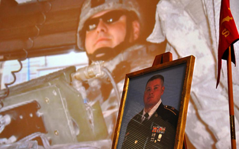 Staff Sgt. Thomas H. Oakley was remembered during a memorial service at Ledward Barracks in Schweinfurt, Germany, on Thursday. Oakley was struck and killed by a car on April 14 while trying to render aid at a traffic accident.