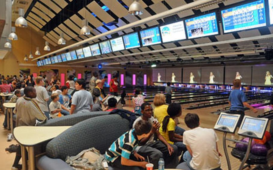 The 16-lane bowling alley at the new Wiesbaden Entertainment Center was packed on Thursday, the day of the official grand opening.