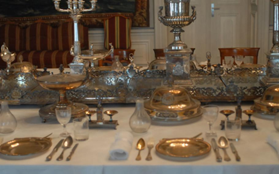 A simple table setting inside the Mannheim palace, which was once a residence of the Wittlesbach family from Bavaria and the local Palatinate area.