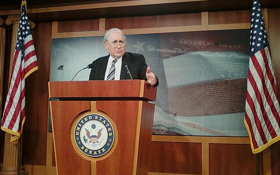 Senate Armed Services Committee Chairman Carl Levin, D-Mich., speaks to reporters Friday about details of his committee's draft of the fiscal 2011 defense authorization bill. Among other military funding issues, the measure proposes a 1.4 percent across-the-board pay raise for military personnel next year, though troops in certain specialties could see more money.