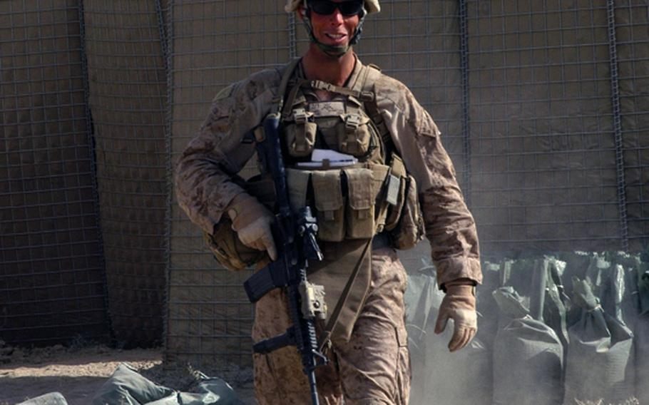 Capt. Nicholas Schmitz, a Rhodes Scholar with a master's from Oxford University, often leads his unit on patrol on what is essentially the front line of the war against the Taliban in Afghanistan, as 1st Platoon commander for the 2nd Battalion, 1st Marines' Echo Company.