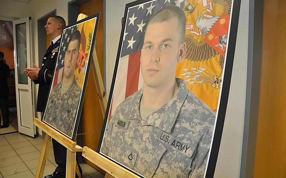 Spc. Kelly J. Mixon, 23, of Yulee, Fla., pictured right, and Sgt. James A. Ayube II, 25, of Salem, Mass., were honored in a memorial ceremony Thursday in Vilseck. The soldiers died Dec. 8 in Afghanistan from wounds sustained when an insurgent attacked their unit with a bomb, according to a DOD news release.