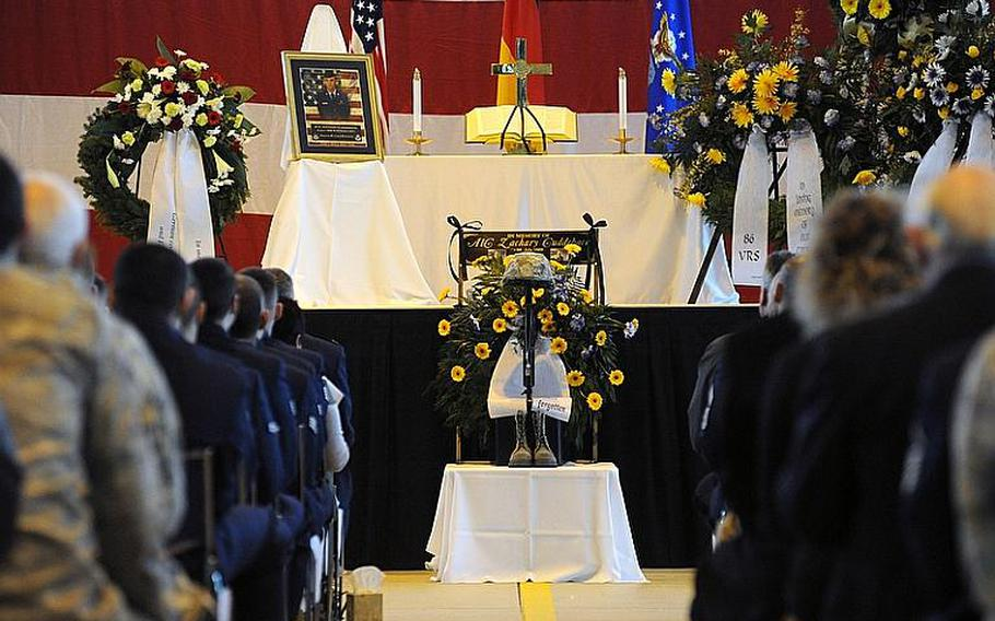 Ramstein Air Base, Germany,  held a memorial service for Airman 1st Class Zachary Cuddeback on Thursday morning. More than 500 people turned out to honor Cuddeback, one of two airmen killed by a gunman at Frankfurt airport last Wednesday.