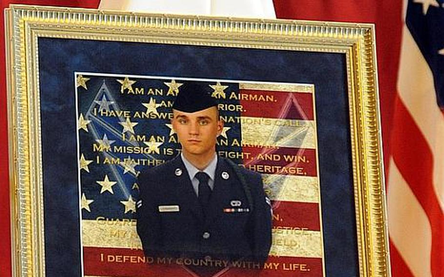 A memorial service for Airman 1st Class Zachary Cuddeback was held at Ramstein Air Base, Germany, on Thursday morning. Cuddeback was one of two airmen killed by a gunman at Frankfurt airport last Wednesday.