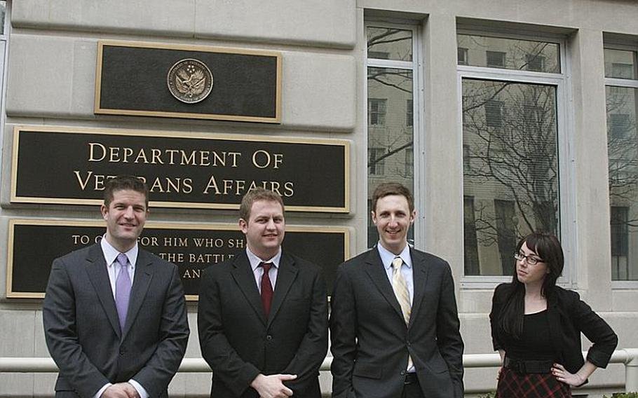 From left, Josh Tuscher, Alex Horton, Brandon Friedman and Kate Hoit are the core of the team trying to reshape how the Department of Veterans Affairs communicates over the Internet.