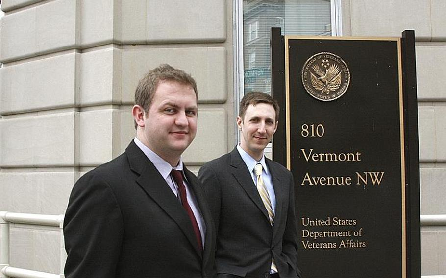 Alex Horton, left, was hired by Brandon Friedman last year to bolster the Department of Veterans Affairs' social media outreach after Horton used his personal blog to harshly criticize the care the department provided.