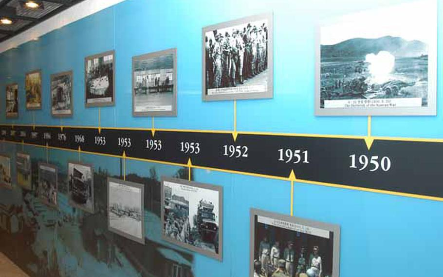 A wall at the newly opened Joint Security Area Visitor Center at Korea's Demilitarized Zone highlights a number of  significant events related to the Korean War and the DMZ from 1950 to the present.