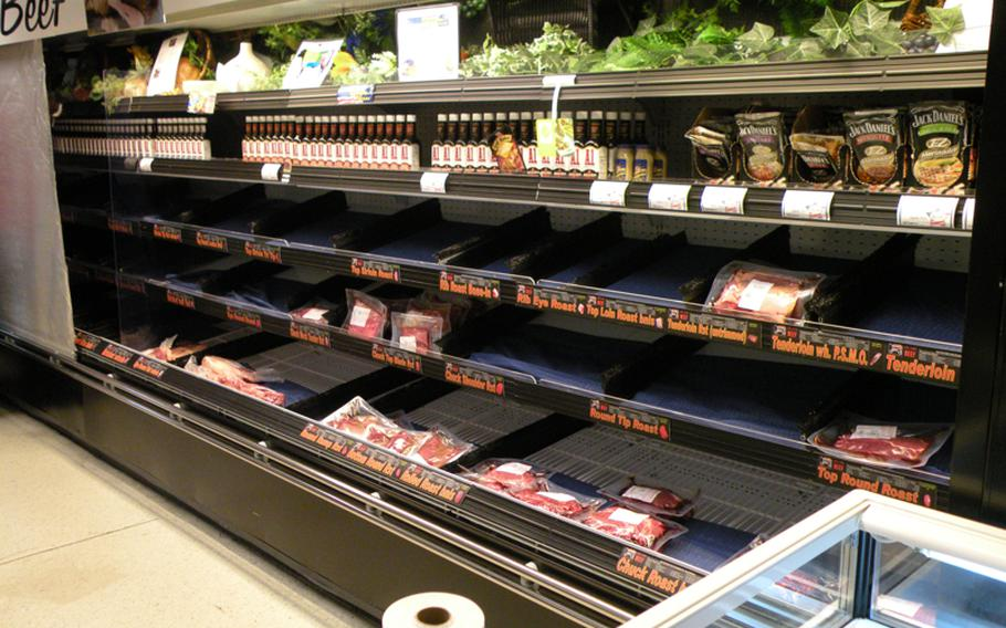 The shelves at the commissary at  RAF Lakenheath, England, had a few bares spots in the meat area on Friday, but for the part it remained well-stocked Friday afternoon despite reports of heavy shopping.