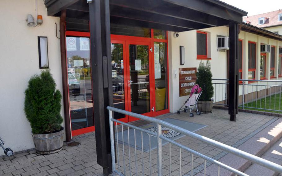A stroller sits outside the Schweinfurt (Germany) Child Development Center  on Tuesday. U.S. Army Garrison Schweinfurt, Germany, is investigating an allegation of inappropriate behavior at the center, according to an Army official.