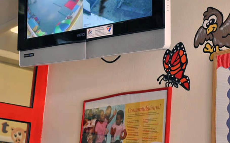 A video screen monitor is displayed inside the Child Development Center on Askern Manor in Schweinfurt, Germany. Allegations of inappropriate behavior that was captured on video have prompted an investigation by U.S. Army Garrison Schweinfurt, according to an Army official.