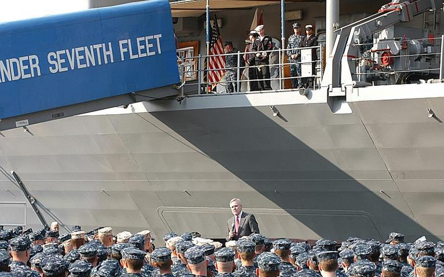 Secretary of the Navy Ray Mabus talks with about 1,000 sailors and Marines in front of the USS Blue Ridge at Yokosuka Naval Base on Wednesday. Mabus thanked the servicemembers for their everyday work, as well as their participation in relief and recovery efforts related to the March 11 earthquake and tsunami in Japan. He then answered audience questions about future manning plans and quality of life issues.