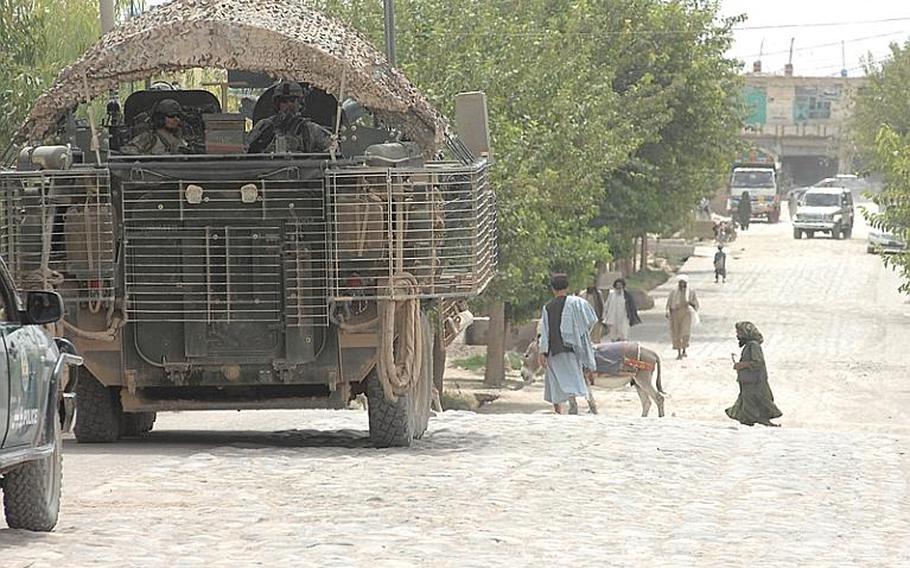 A 2nd Stryker Cavlary Regiment Stryker stands guard in Uruzgan Province, Afghanistan last summer.