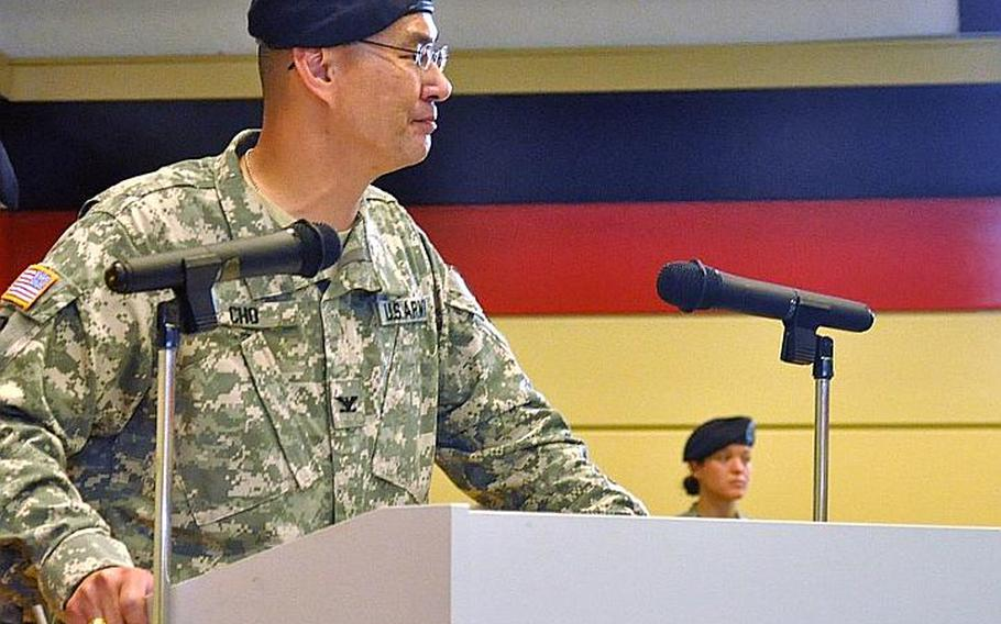 Army Col. John M Cho gives his final speech to the staff of Landstuhl Regional Medical Center in Germany. On Wednedsay, Cho handed command of the hospital to Army Col. Jeff B. Clark. Cho, who commanded the hospital for the past two years, will be taking charge of the 30th Medical Command in Heidelberg, Germany.   Seth Robbins/Stars and Stripes