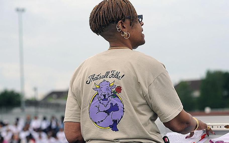 """Mannheim High School principal Sheila Smith ended her remarks on the school's closing with the third chapter of Ecclesiastes, slightly modified to reflect the school's closing. Friday is the last day of school for students, bringing 55 years of learning at Mannheim High to an end. A """"Moving On"""" celebration was held Thursday on Woods Memorial Field. The high school and middle school are closing as a result of the drawdown of the Mannheim military community."""