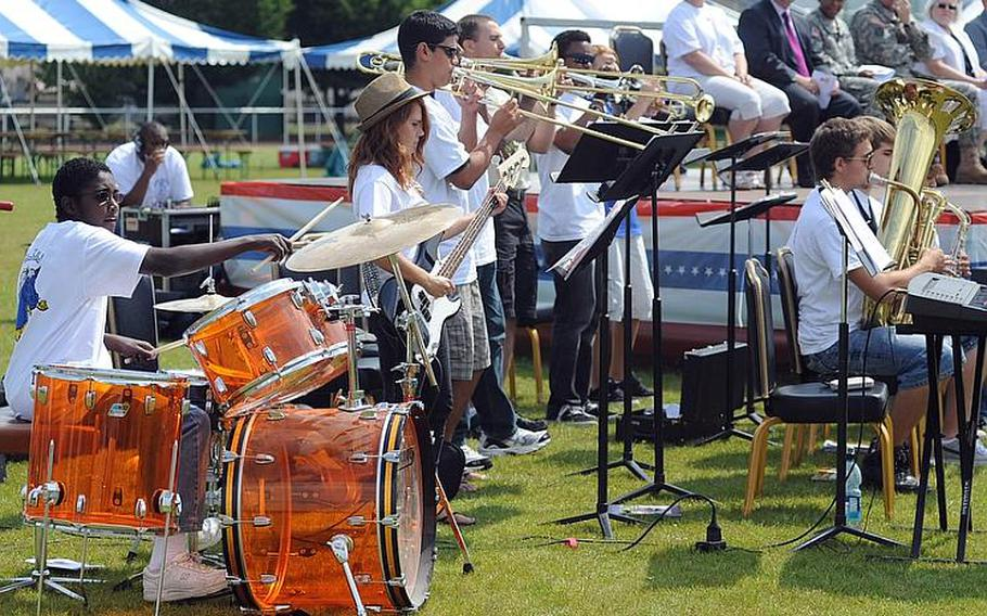 """The Mannheim Middle/High School band performs during the """"Moving On"""" celebration Thursday marking the closing of the middle school and high school."""