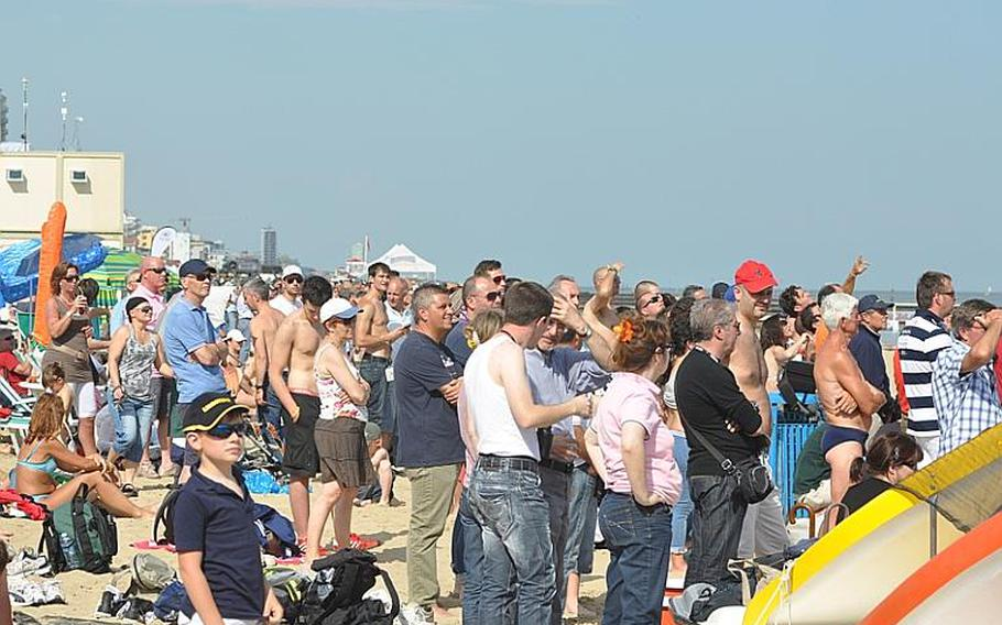 Thousands of spectators, many of them tourists from Germany and Austria who came to the beach to get some sun, watched three hours of aerial acrobatics Saturday at the Jesolo Air Extreme Show in northern Italy. Among those participating were the U.S. Air Force's Thunderbirds.