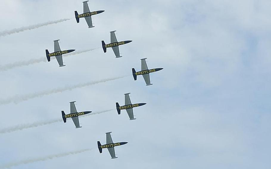 The Breitling Air Team, a group of civilian pilots based in France sponsored by Breitling, were among the first aircraft to take to the skies Saturday at the Jesolo Air Extreme show east of Venice. Dozens of aircraft took part in the three-hour show, viewed by spectators from the beaches of Jesolo, Italy.