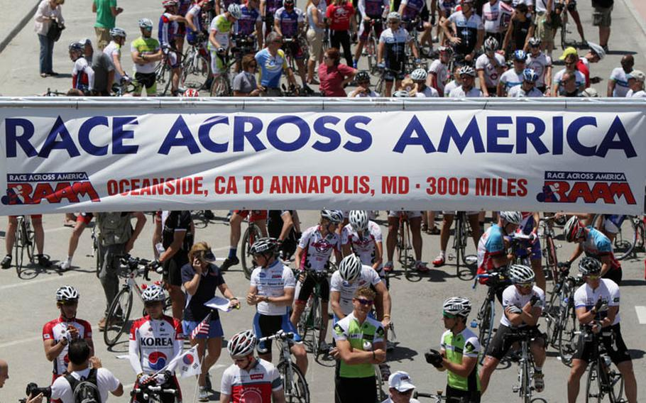 Starting line for RAAM teams at Oceanside, Calif., June 18. Teams spent between five and ten days making the 3,000-mile trans-American crossing. Solo racers, who left on June 14 and 15, spent between eight and 12 days on the road.