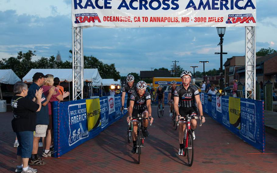 Team 4Mil crosses the finish line in Annapolis, Md., winning the RAAM 2011 Armed Forces Cup and finishing second overall in the eight-person division. Rider Captain Jim Weinstein led the team across the finish, despite being pulled out of the race temporarily in Kansas due to a medical issue.The team finished in 5 days, 12 hours and 5 minutes; the sixth fastest time ever on the Oceanside to Annapolis route.