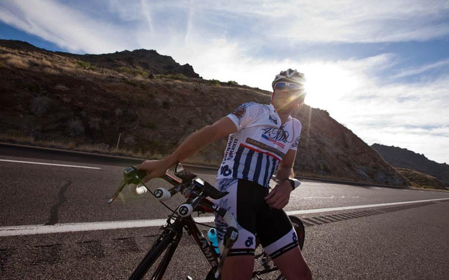 Justin Martin waits at a transition point in Arizona.