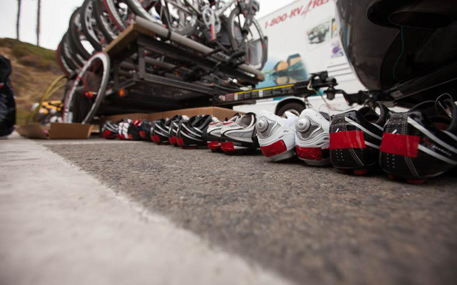 Every team must pass a thorough inspection prior to the race to make sure that all equipment and safety requirements are met. Here, shoes lined up for inspection. Each shoe must have reflective tape on the heel for safety.