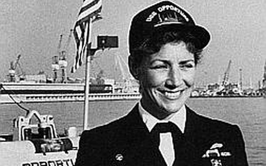 Retired Navy Cmdr. Darlene Iskra made history when she become the first woman to command a commissioned vessel in 1990. Iskra said it's difficult for women who are 'firsts' in the Navy to acknowledge the accomplishment when it happens, partly due to the spotlight that is on them and the desire to do a good job, gender aside.