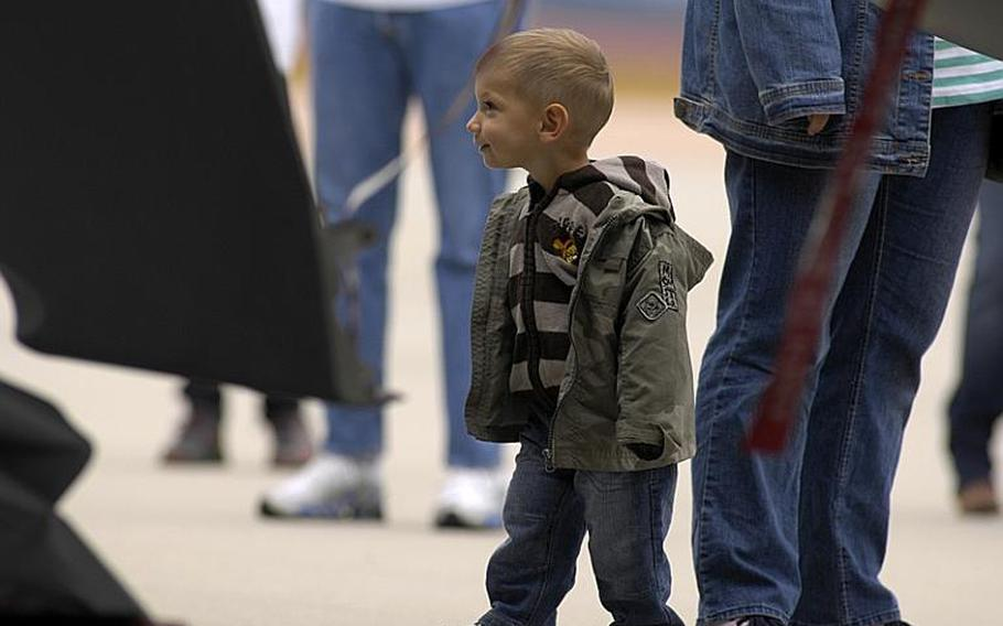 Lennart Schuppim, 2, of Salzgitter, Germany, was among the spectators at the Spangdahlem Air Base open house on Saturday, July 30, 2011. He got a close-up look at a German Luftwaffe Eurofighter Typhoon from Noervenich Air Base near Cologne.