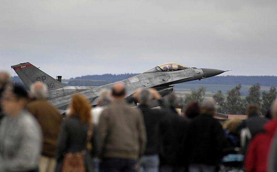 An F-16 Fighting Falcon lands at the Spangdahlem open house and aerial demonstration after its performance on Saturday, July 30, 2011.