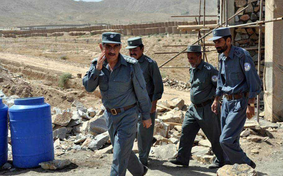 Gen. Amir Jamshid inspects the construction site of a new prison in Maidan Shar, capital of Wardak province. Jamshid is head of Afghanistan's Central Prison Directorate.